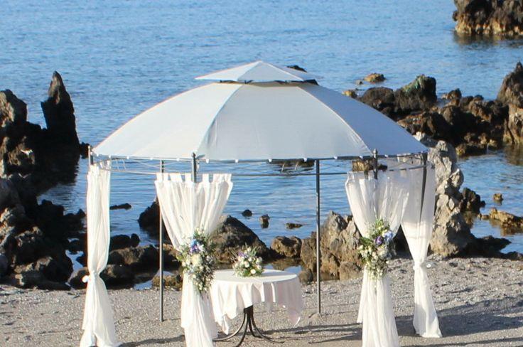 Beautiful Ceremony Beach wedding set-up in Rethymno, Crete.  www.royalblueevents.gr
