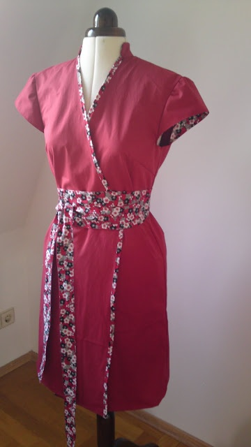 Chinese style wrap dress with obi tie belt