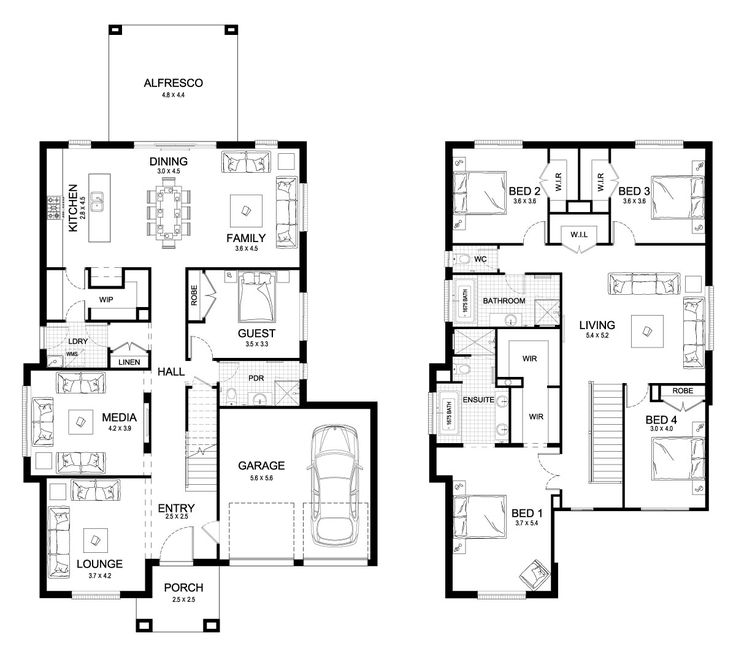 25 best ideas about double storey house plans on for 100m2 floor plan
