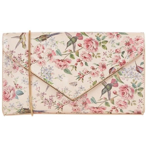 Oasis Royal Worcester Collection Floral Print Envelope Clutch Bag ($32) ❤ liked on Polyvore featuring bags, handbags, clutches, handbags clutches, hand bags, pink purse, man bag and pink handbags