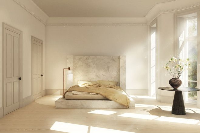 A Rendering Of A Rick Owens Alabaster Bed Interiors