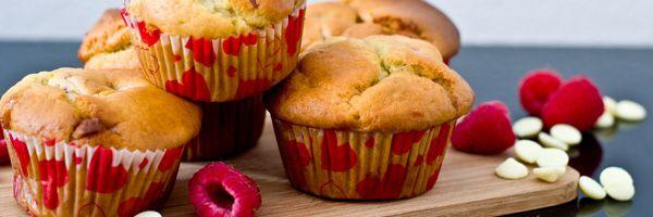 Framboos ricotta muffins met witte chocolade