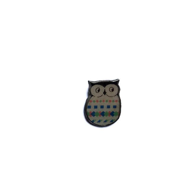 Retro Patterned Resin Owl bird Brooch by EllyMental £13.00