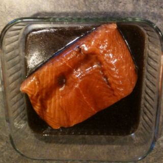The best marinade for Salmon! Mix 2-3 tablespoons each, brown sugar and soy sauce (I use low sodium), 1/4 teaspoon each of ground ginger (if using fresh use more) and garlic salt, 1/8 teaspoon pepper, 1 1/2 tablespoon olive oil. Pour over salmon and let sit in refrigerator for at least 1 hour. Grill or broil in oven.