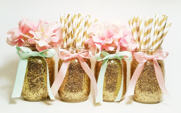 Mason Jars Centerpieces, Pink and Gold Wedding, Party, Mint Green and Pink, Graduation Party Decorations, Birthday Party Decor, Set of 4 by LimeAndCo on Etsy https://www.etsy.com/listing/235855768/mason-jars-centerpieces-pink-and-gold