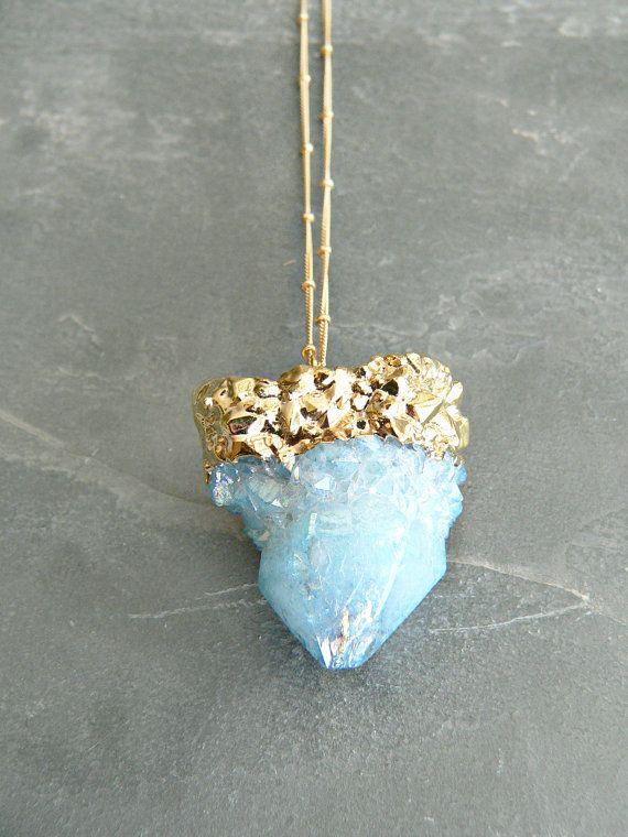 Aqua Aura Spirit Quartz Necklace by KattilacGems on Etsy