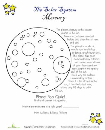 Worksheets: Mercury Facts
