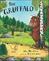 "The Gruffalo is the story of a clever mouse, three large animals that want to eat him and an imaginary monster, a gruffalo, who turns out to be only too real. What's a mouse to do when on a walk in the ""deep dark wood,"" he is confronted first by a fox, then by an owl and, finally, by a snake, all of whom seem to be intent on inviting him for a meal, with the mouse as the main dish? The mouse tells each of them that he is on his way to a feast with a gruffalo. His description of the fierce…"