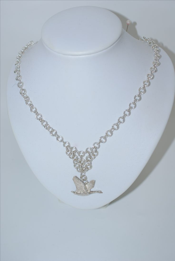 CHAIN MAIL, STERLING SILVER, with flighty sterling silver goose, all handmade, including the chain.