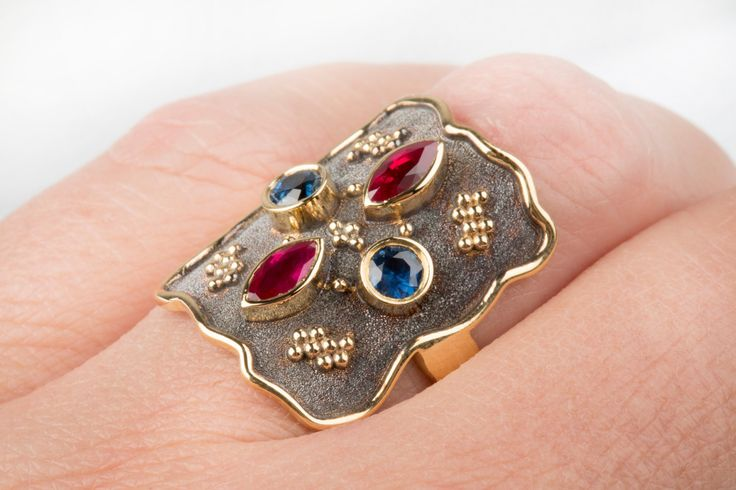 15%off BYZANTINE Wide Ring Marquise Ruby & Sapphire Decorated