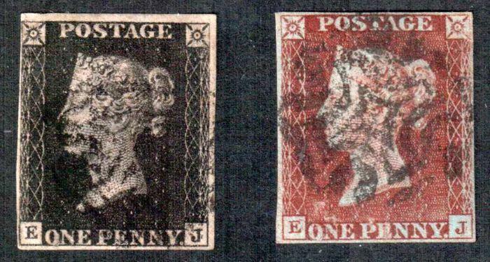 Groot-Brittannië koningin Victoria 1840 - Stanley Gibbons 2 en 7 Matching penny black & rode plaat 10.  Goede kwaliteit.Vier marges. Zwarte Maltezer Kruis.Spoor van scharnierend en potlood mark op de achterzijde.Zie de afbeeldingen voor een juiste indruk.Aangetekende zending.  EUR 50.00  Meer informatie