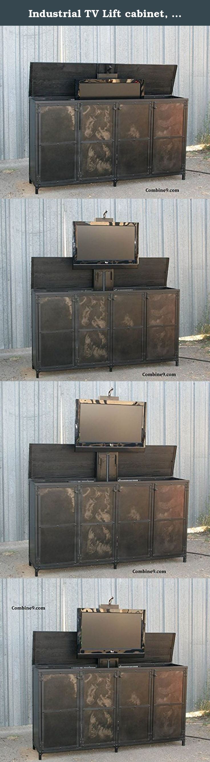 Industrial TV Lift cabinet, steel and reclaimed wood avail. Here is a stylish way to hide your TV. This is a lift top media console which features an electric mechanism to open the top of the unit and raise the TV for viewing. You can activate the lift with wireless remote and a push button switch on the side. When you are done watching TV, you simply press the button and the TV will be lowered and the top close. ** The price shown here is for one made of steel. However, we have included…