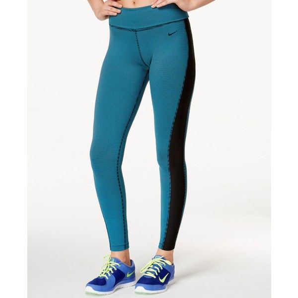 Nike Legend Dri-fit Striped Leggings ($75) ❤ liked on Polyvore featuring pants, leggings, white leggings, striped pants, nike, stripe leggings and white trousers