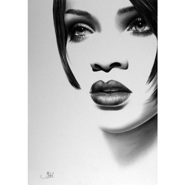 Rihanna Minimalism Original Pencil Drawing Fine Art Portrait ❤ liked on Polyvore featuring home, home decor, wall art, minimalist wall art and minimalist home decor