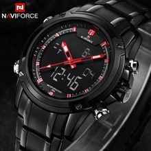 Naviforce acero lleno del reloj del deporte militar de cuarzo del reloj Digital LED reloj relojes de pulsera Casual Luxury Brand Relogio Masculino(China (Mainland))