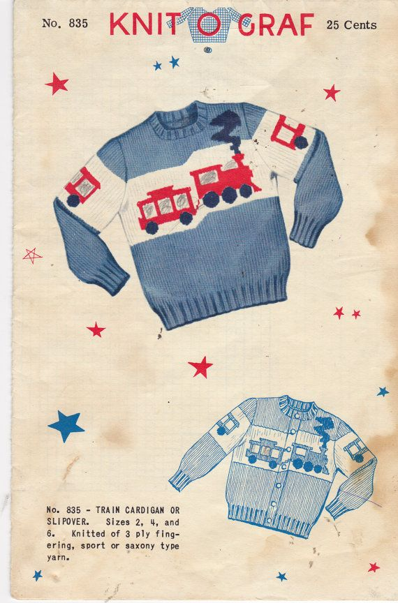 Knitting Pattern - Knit O Graf Vintage Sweater Graph Pattern -CHOO CHOO TRAIN - Pullover or Cardigan Style - Size 2-4-6 - Rare Pattern