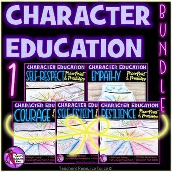This Character Education for teens bundle is a crucial element for strengthening the core curriculum and ensuring our students are building strong character in order to help them succeed in school and for the rest of their lives - talk about having an impact!?This buy 5 get 1 free bundle includes: self-esteem resilience self-respect empathy courageSadly, teaching teens about character is often put to the bottom of the pile, yet did you know that it is the foundation for all success?