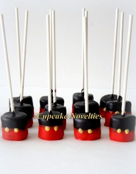 Buy online on Etsy! Perfect dessert and/or party favors for your Mickey Mouse Clubhouse themed birthday party! Delicious Chocolate dipped Marshmallow Pops, dipped in red & black chocolate with yellow buttons! #MickeyMouse
