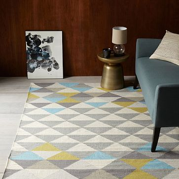 Love this rug for the dining room or living room! West Elm Sarah Campbell Mosaic Triangles Wool Dhurrie - Wave