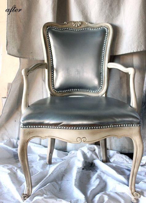 dressing room metallic vinyl chair makeover