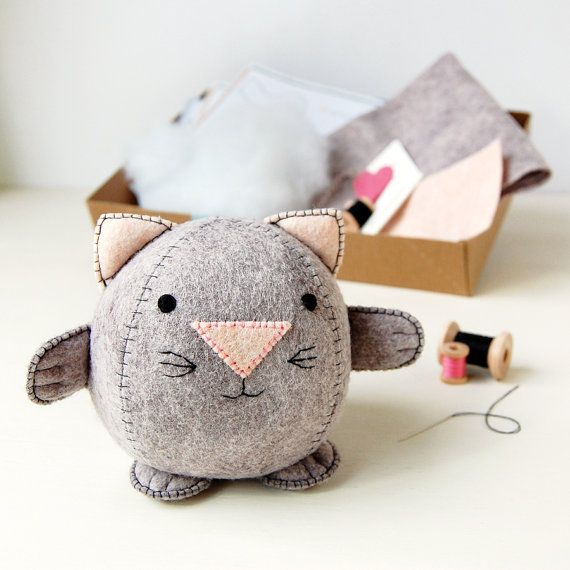 Oh my goodness!! Cute, cute, cuuute! Make Your Own Kitten Toy Craft Kit - Sewing Kit
