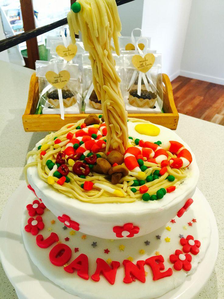 Noodle Bowl Gravity Defying Cake - video instructions will be posted soon :) #noodlebowlcake #gravitydefyingcake #noodlecake #chopstickcake #funplaytv