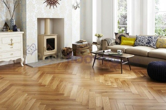 Richmond Engineered Click System Herringbone Parquet Oak 148mm x 15mm Brushed and Lacquered Wood Flooring