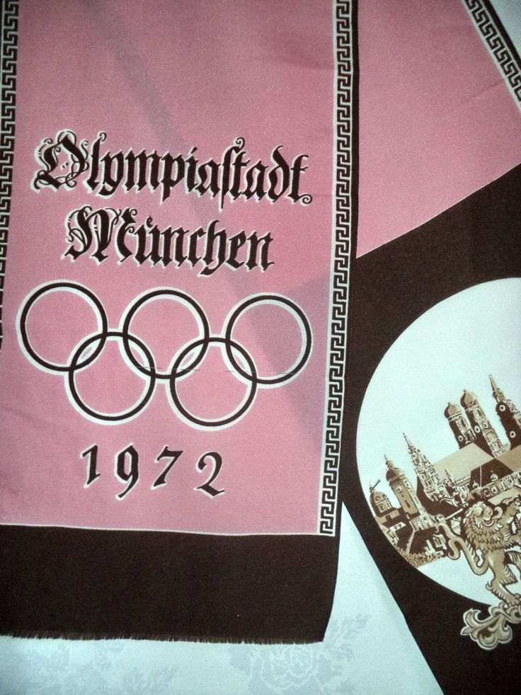 Ultra Rare Munich 1972 Olympics Scarf souvenir Royal Crest Heraldry Unisex Pink Brown Fringe Shawl Decor Prop Movie Wall Historic Sports Art by MushkaVintage3 on Etsy