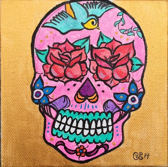 This is a 5x5 giclee print of a sugar skull with roses for eyes. It is printed on a soft canvas paper and will look beautiful framed. These colors