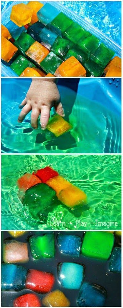 Colored Ice in the Play Pool