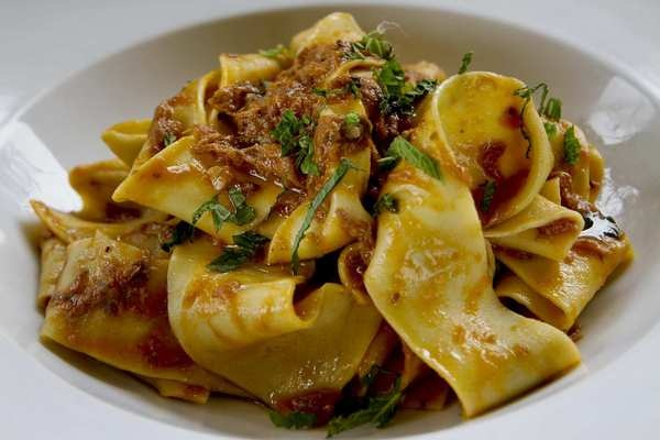 An egg-rich pappardelle sauced in a gentle lamb ragu, Neapolitan style.: Neapolitan Style, Food, Pappardel Sauces, Lamb Ragu, Beverly Hill, Lamb Sugo, Pappardell Sauces, Eggs Rich Pappardell, Gentle Lamb