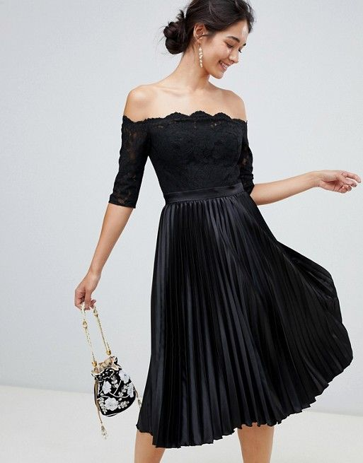 chi chi london lace top midi dress with pleated skirt in black asos