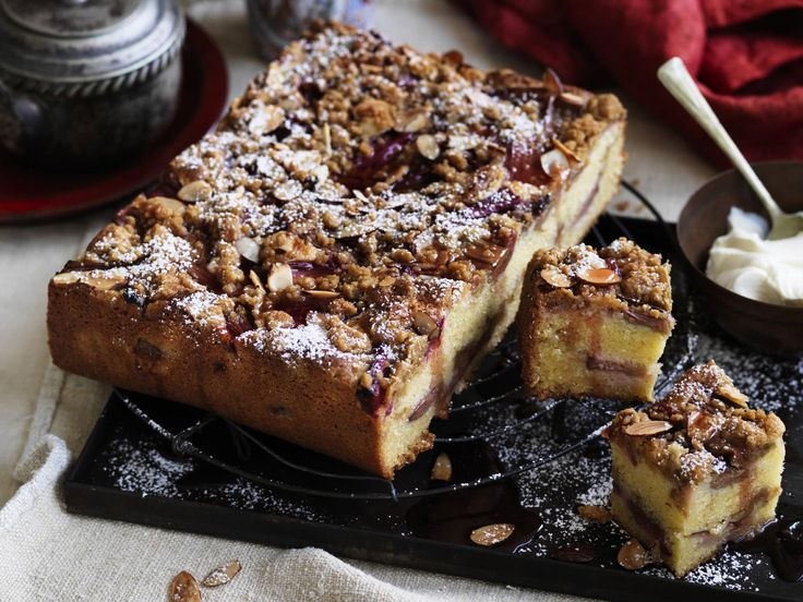 Need some easy baking inspiration? This rhubarb and vanilla crumble cake is the perfect pick! - recipe by The Australian Women's Weekly.