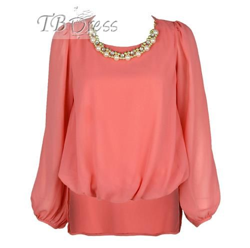 Charming Long Sleeves Chiffon Yarn Pearl Necklace Blouse