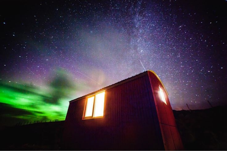 """""""My wee shepherds hut in Mangersta. With THREE faint shooting stars and the northern lights...…"""" Rachel Keenan Photography"""