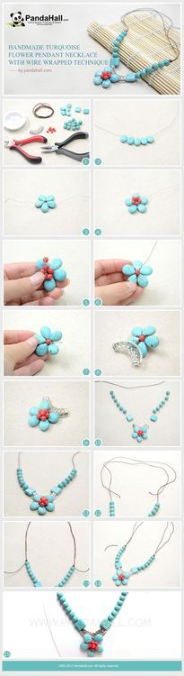 Jewelry Making Tutorial-Handmade Turquoise Flower Pendant Necklace with Wire Wrapped Technique   PandaHall Beads Jewelry Blog