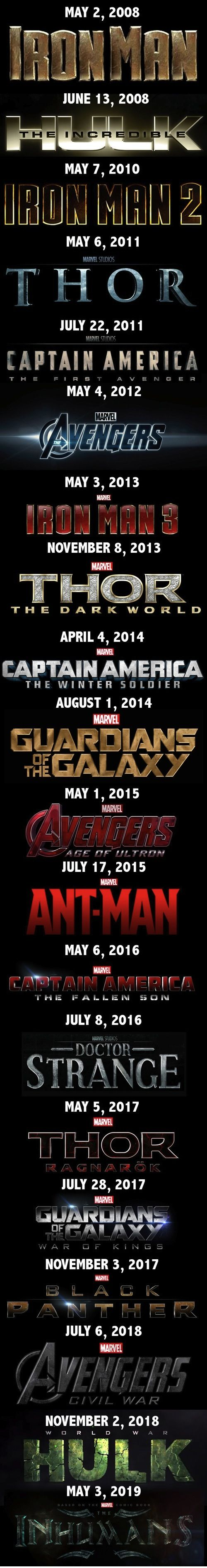 Marvel release dates