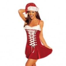 Mooi rood kerstpakje, aan de voorkant afgewerkt met een witte rijgveter en aan de bovenkant afgewerkt met een zacht laagje witbont.