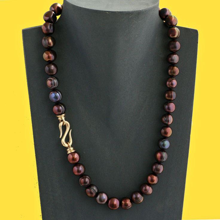 Echte Perlenkette tahiti-schwarz 11 mm 47 cm  Zuchtperlen Kette Trendfarbe 2016