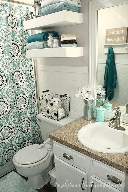 simply beautiful by angela bathroom makeover on a budget college bathroom decorteal bathroom decorapartment - Small Bathroom Decorating Ideas Apartment