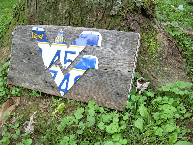 Recycled Barn Wood License Plate Art Sign - Flying WV - West Virginia Mountaineers. $17.00, via Etsy.