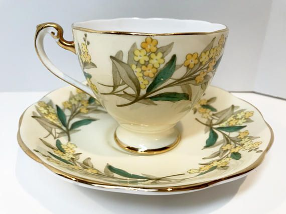 Bring the joy of flowers into your home with this floral tea cup and saucer. The pattern is Remember Me. Roslyn Fine Bone China of England crafted this antique teacup and saucer in the 1950s. It was produced at the Park Place Works in Longton, England, part of the Staffordshire