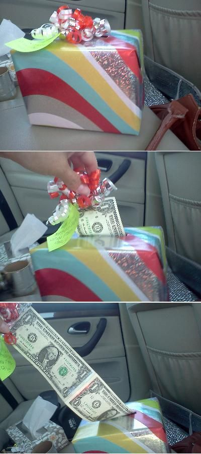 Cute way to give money as a gift. Cuter than just a card, I think.  I did this for a graduation/birthday gift for a 15 year old girl and it was a big hit! Def would do it again.