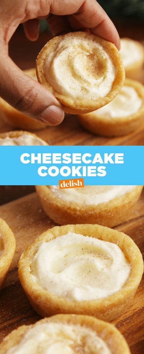 Cheesecake + Cookies = the ultimate dessert mashup. Get the recipe at Delish.com. #cheesecake #cookie #cheesecakecookie #easyrecipe #recipe #dessert #dessertideas #sugar #delish #creamcheese