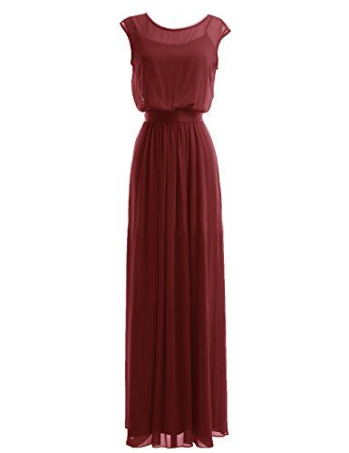 Diyouth Long Chiffon Scoop Neck Bridesmaid Dresses Evening Gowns with Belt Burgundy Size 8
