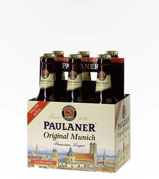 Paulaner Premium - $13.79 Crisp, malty aroma with an overtone of apple. Classic Pilsner taste that is malty in flavor, crisp and slightly sweet. 4.9% ABV.