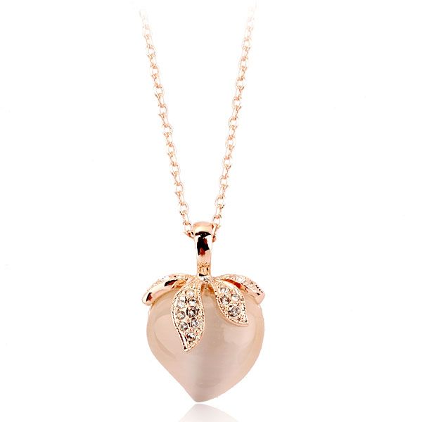 Горячие новые продукты для 2016 опал ожерелье с персик сердца ожерелье для девочек