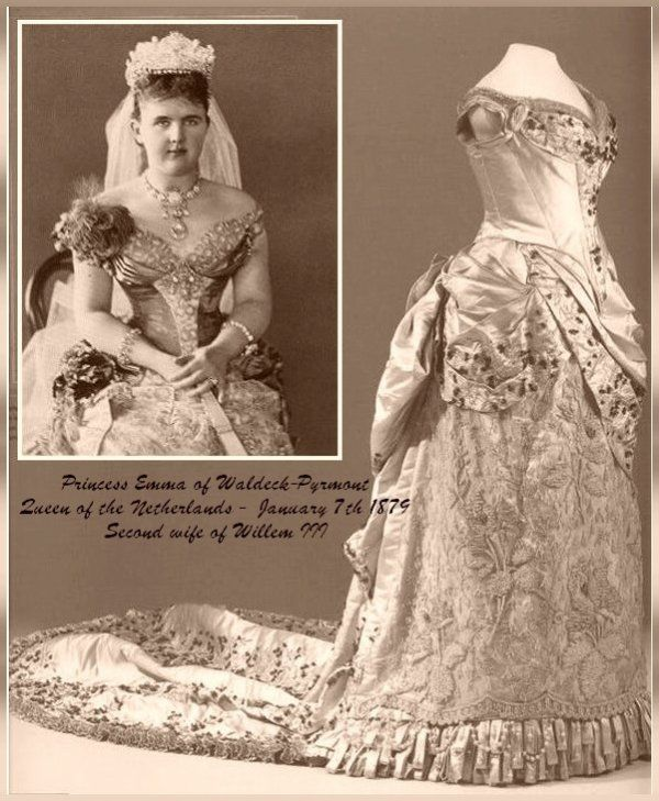Historic Wedding Dress _ Princess Emma of Waldeck - Pyrmont  * & * Alexandra Feodorovna (Alix of Hesse)