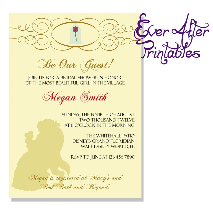 Beauty and the Beast Bridal Shower/Birthday by EverAfterPrintables, $10.00