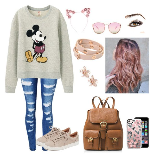 Disney by caitlyncollins-1 on Polyvore featuring polyvore fashion style Uniqlo WithChic Frye MICHAEL Michael Kors Tory Burch NAKAMOL Casetify Quay Dolce&Gabbana Hot Topic Avon clothing